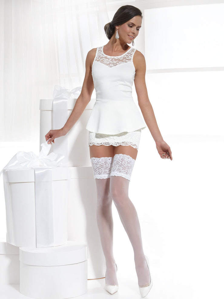 Sheer bridal wedding stockings hold ups white and ivory color Conte Elegant Amore