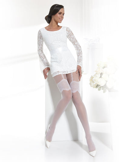 Sheer bridal wedding tights pantyhose with suspender pattern white and ivory color Conte Elegant Sensuale