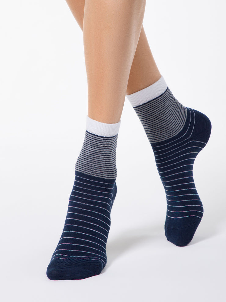 Women's dark blue casual striped Socks by Conte Elegant
