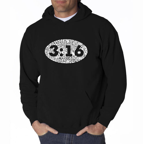 LA Pop Art Men's Word Art Hooded Sweatshirt - John 3:16