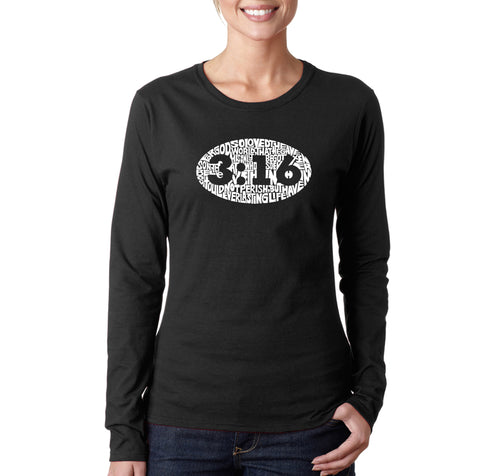 LA Pop Art Women's Word Art Long Sleeve T-Shirt - John 3:16