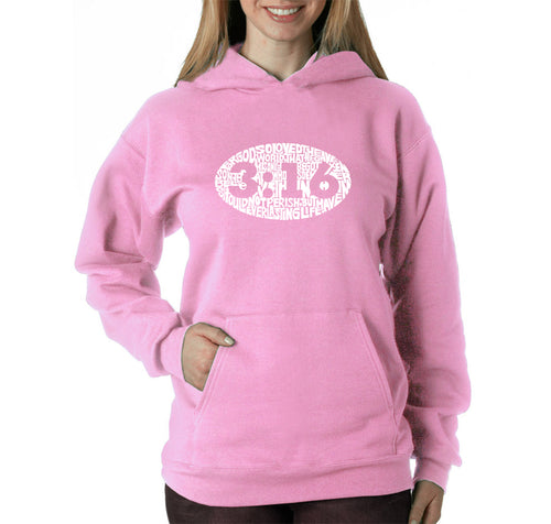 LA Pop Art Women's Word Art Hooded Sweatshirt -John 3:16