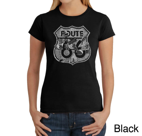 LA Pop Art Women's Word Art T-Shirt - Stops Along Route 66