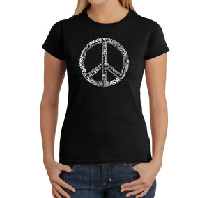LA Pop Art Women's Word Art T-Shirt - THE WORD PEACE IN 77 LANGUAGES