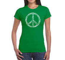 Load image into Gallery viewer, LA Pop Art Women's Word Art T-Shirt - THE WORD PEACE IN 77 LANGUAGES