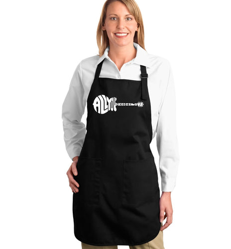 LA Pop Art Full Length Word Art Apron - All You Need Is Love