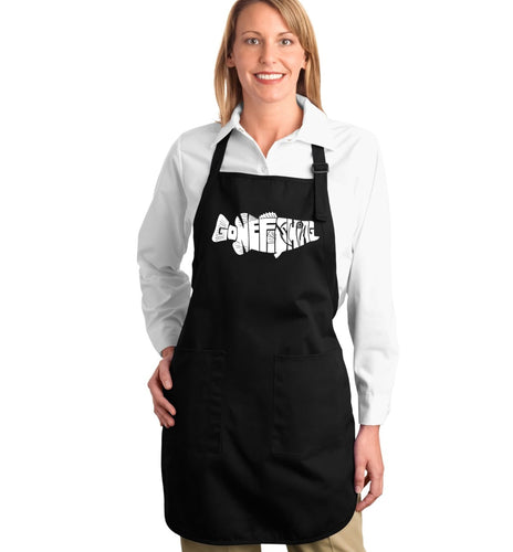 LA Pop Art Full Length Word Art Apron - Bass - Gone Fishing