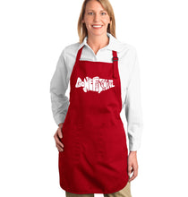 Load image into Gallery viewer, LA Pop Art Full Length Word Art Apron - Bass - Gone Fishing