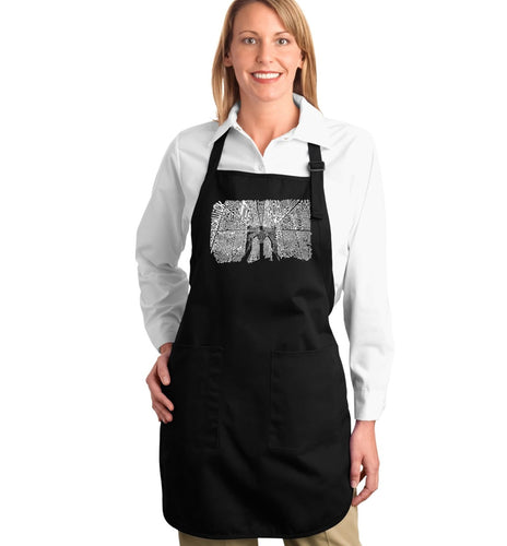 LA Pop Art Full Length Word Art Apron - Brooklyn Bridge