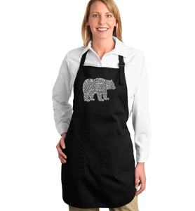 LA Pop Art Full Length Word Art Apron - Bear Species