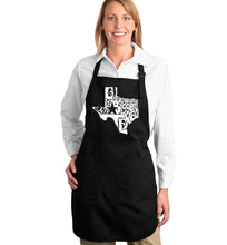 Load image into Gallery viewer, LA Pop Art Full Length Word Art Apron - Everything is Bigger in Texas