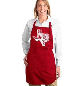LA Pop Art Full Length Word Art Apron - Everything is Bigger in Texas