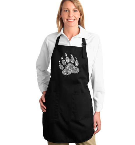 LA Pop Art Full Length Word Art Apron - Types of Bears
