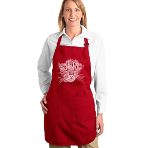 LA Pop Art  Full Length Word Art Apron - Cat Face
