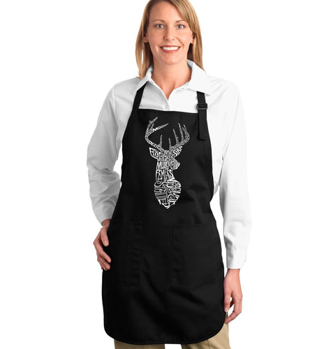 LA Pop Art Full Length Word Art Apron - Types of Deer