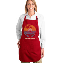 Load image into Gallery viewer, LA Pop Art Full Length Word Art Apron - Cities In San Diego