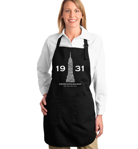LA Pop Art Full Length Word Art Apron - Empire State Building
