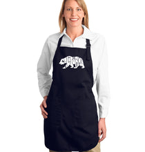 Load image into Gallery viewer, LA Pop Art Full Length Word Art Apron - California Bear