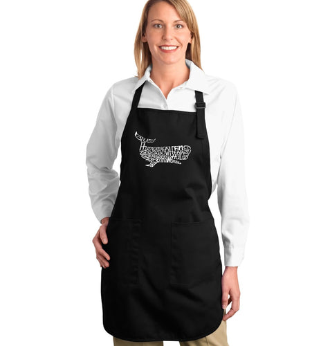 LA Pop Art Full Length Word Art Apron - Humpback Whale