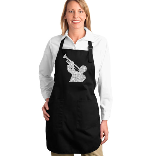 LA Pop Art Full Length Word Art Apron - ALL TIME JAZZ SONGS