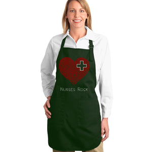 LA Pop Art Full Length Word Art Apron - Nurses Rock