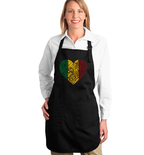 LA Pop Art  Full Length Word Art Apron - One Love Heart