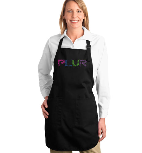 LA Pop Art  Full Length Word Art Apron - PLUR