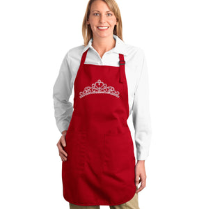 LA Pop Art  Full Length Word Art Apron - Princess Tiara