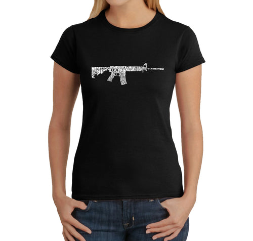LA Pop Art Women's Word Art T-Shirt - AR15 2nd Amendment Word Art