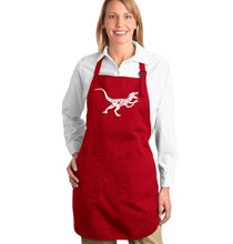 Load image into Gallery viewer, LA Pop Art Full Length Word Art Apron - Velociraptor