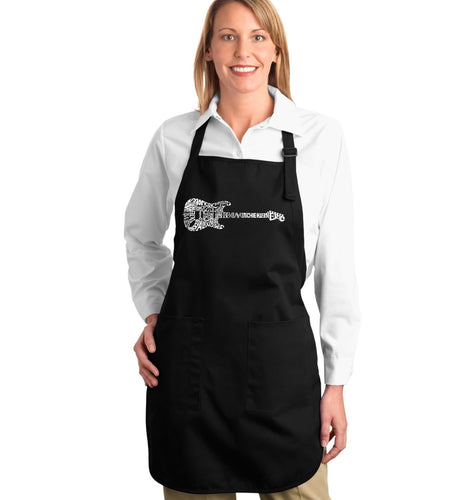 LA Pop Art  Full Length Word Art Apron - Rock Guitar