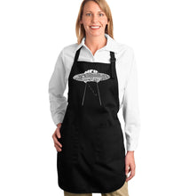 Load image into Gallery viewer, LA Pop Art Full Length Word Art Apron - Flying Saucer UFO
