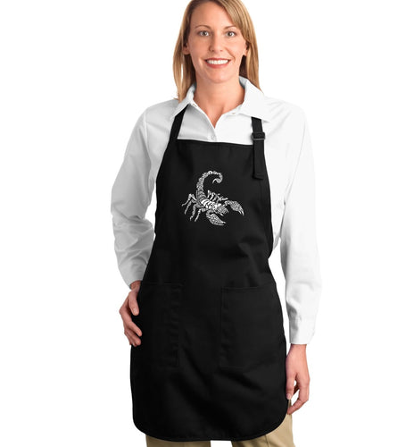 LA Pop Art Full Length Word Art Apron - Types of Scorpions