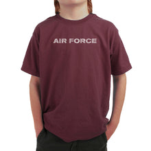 Load image into Gallery viewer, LA Pop Art Boy's Word Art T-shirt - LYRICS TO THE AIR FORCE SONG