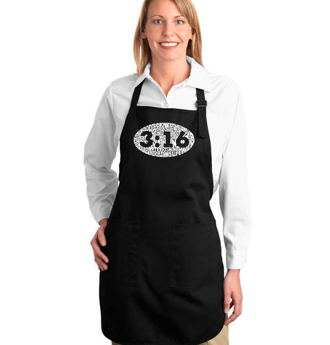 LA Pop Art Full Length Word Art Apron - John 3:16