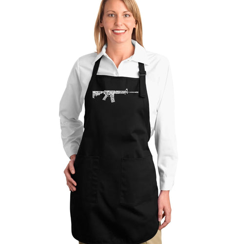 LA Pop Art Full Length Word Art Apron - AR15 2nd Amendment Word Art