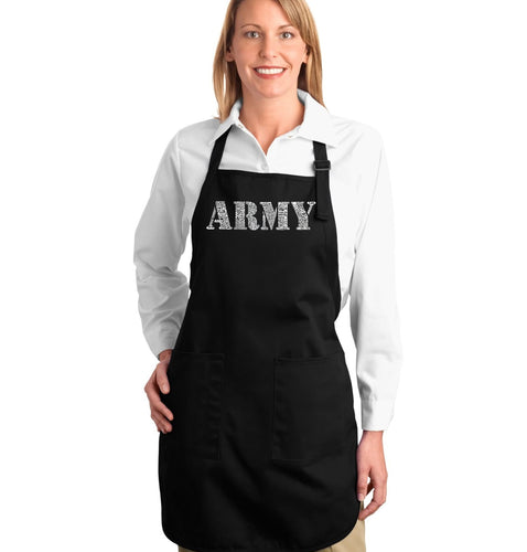LA Pop Art Full Length Word Art Apron - LYRICS TO THE ARMY SONG