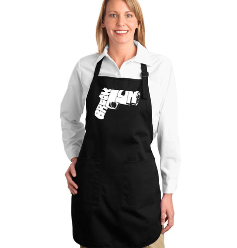 LA Pop Art Full Length Word Art Apron - BROOKLYN GUN