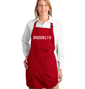 LA Pop Art Full Length Word Art Apron - BROOKLYN NEIGHBORHOODS