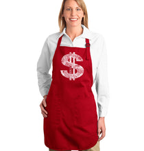 Load image into Gallery viewer, LA Pop Art Full Length Word Art Apron - Dollar Sign
