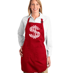 LA Pop Art Full Length Word Art Apron - Dollar Sign