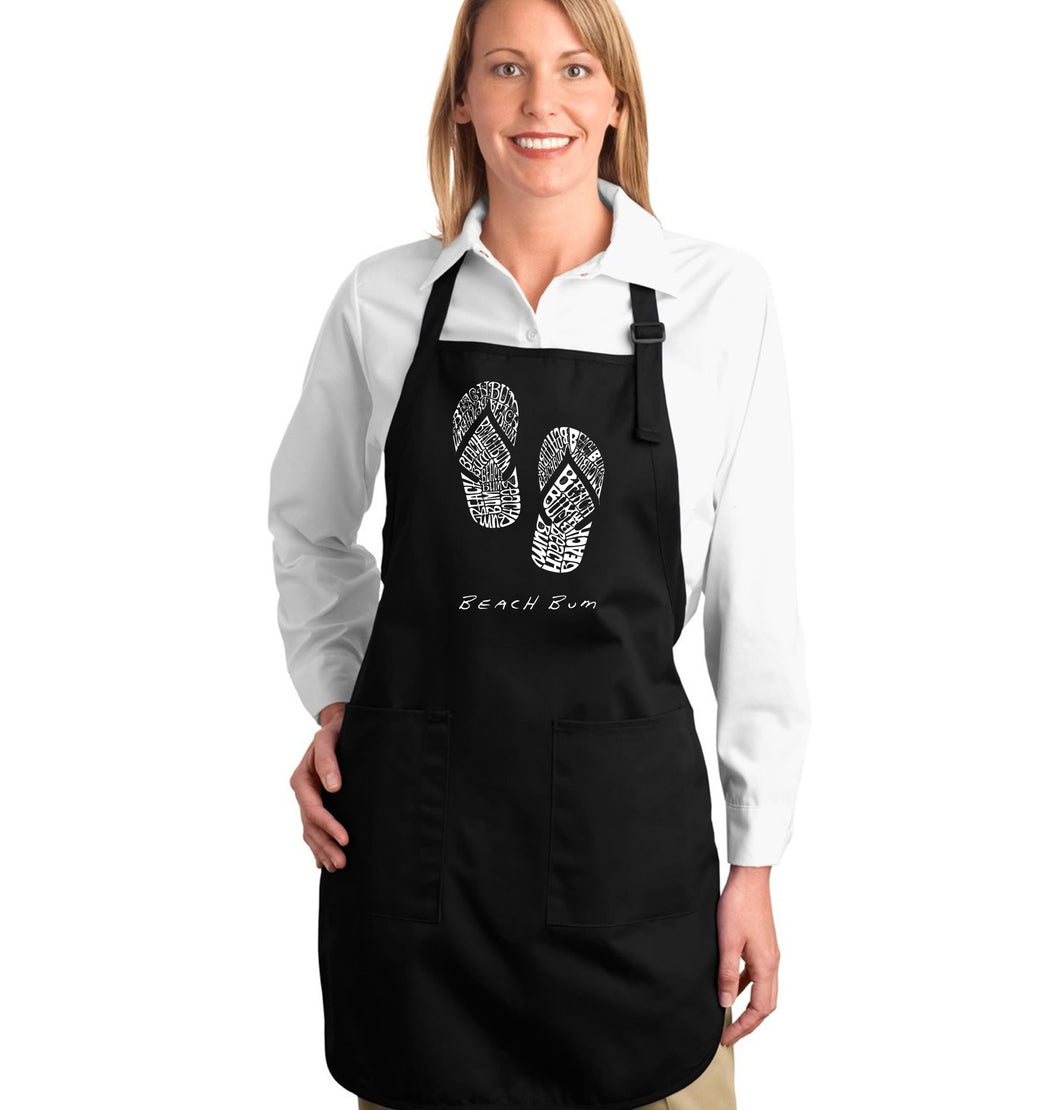 LA Pop Art Full Length Word Art Apron - BEACH BUM