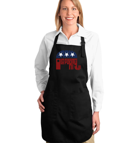 LA Pop Art Full Length Word Art Apron - REPUBLICAN - GRAND OLD PARTY