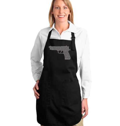 LA Pop Art Full Length Word Art Apron - RIGHT TO BEAR ARMS