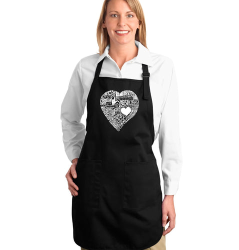 LA Pop Art Full Length Word Art Apron - LOVE IN 44 DIFFERENT LANGUAGES