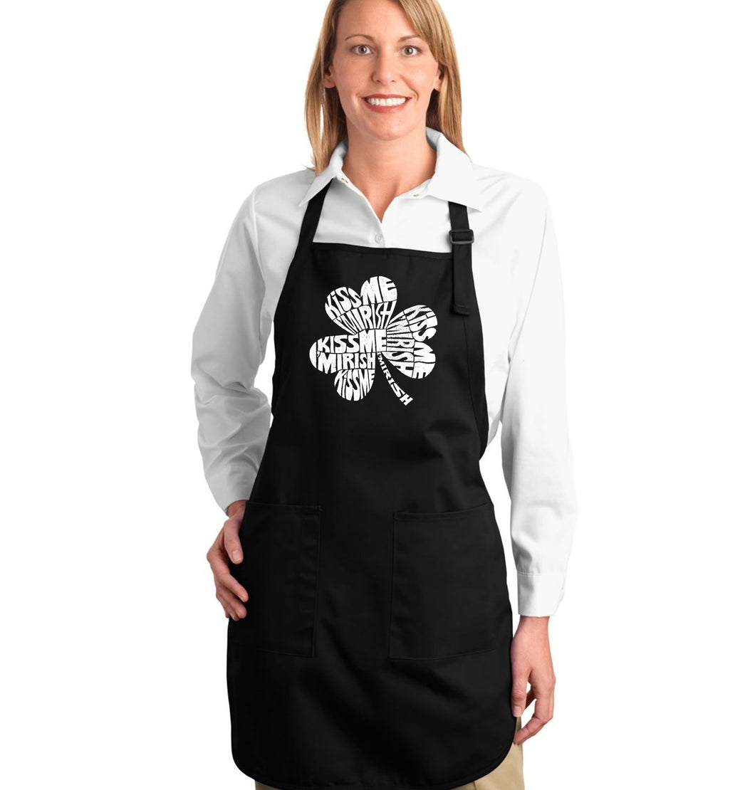 LA Pop Art Full Length Word Art Apron - KISS ME I'M IRISH