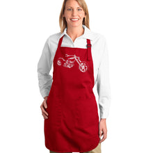 Load image into Gallery viewer, LA Pop Art Full Length Word Art Apron - MOTORCYCLE