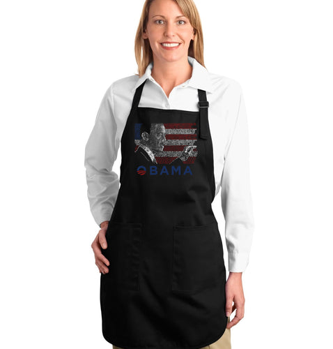 LA Pop Art Full Length Word Art Apron - BARACK OBAMA - ALL LYRICS TO AMERICA THE BEAUTIFUL