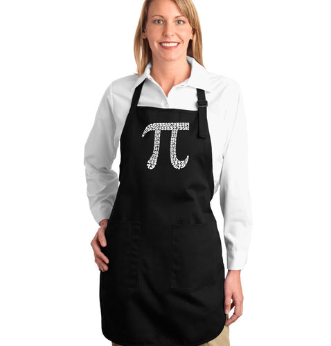 LA Pop Art Full Length Word Art Apron - THE FIRST 100 DIGITS OF PI