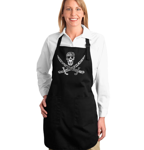 LA Pop Art Full Length Word Art Apron - PIRATE CAPTAINS, SHIPS AND IMAGERY